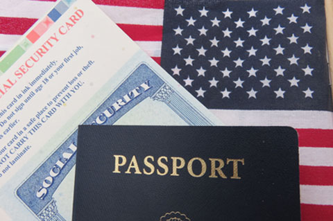 Flag, passport and Social Security Card