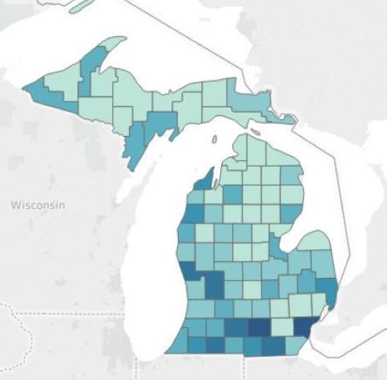 Percent of Michigan Children <6 with Elevated Blood Lead Levels (>5 ug/dL) by County, 2016
