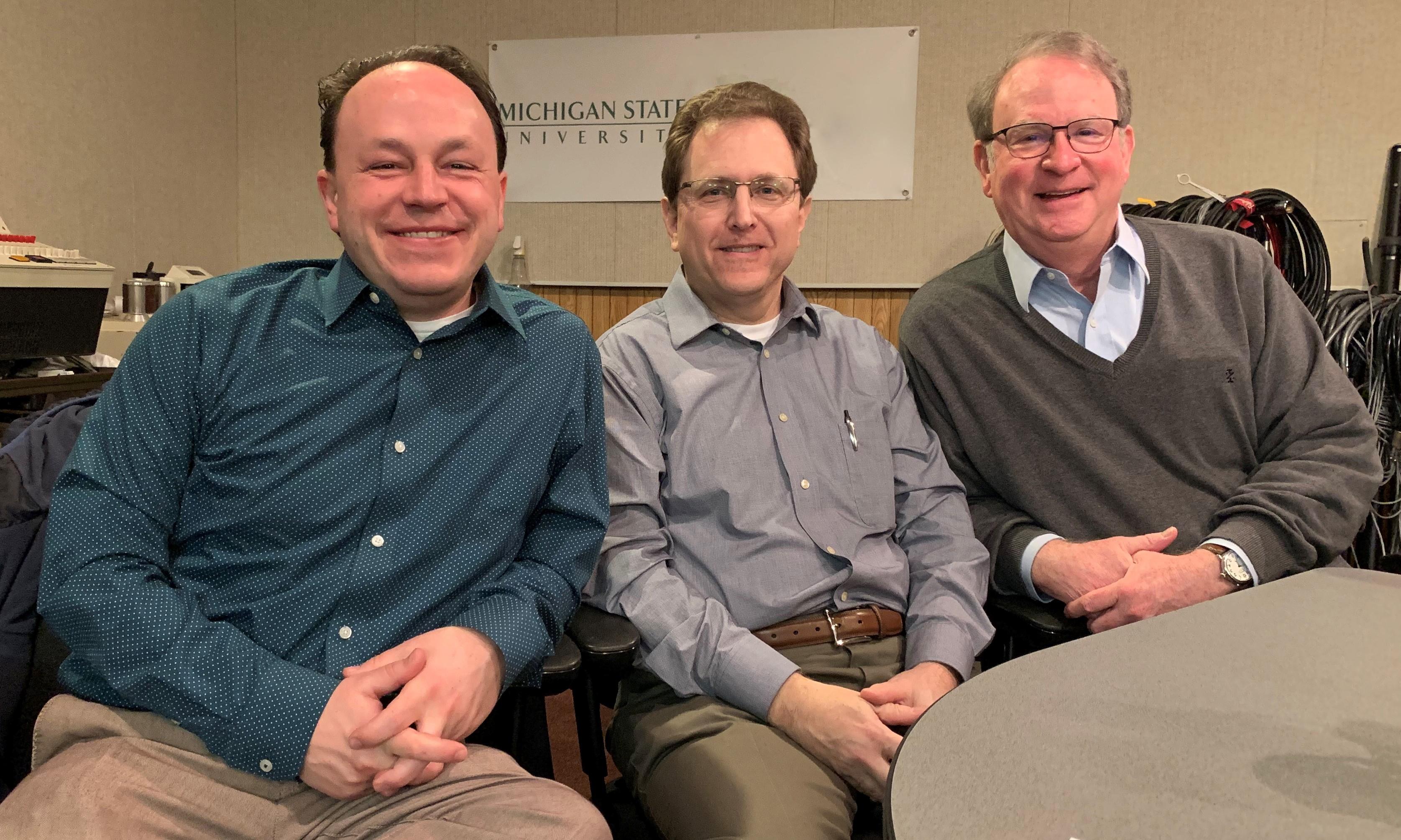 Podcasters Matt Grossmann, Arnold Weinfeld, Charles Ballard